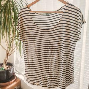 Soft navy stripe scoop neck t-shirt